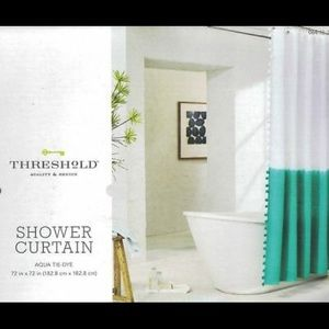 Aqua dip-dye/tie-dye shower curtain w/ Pom poms
